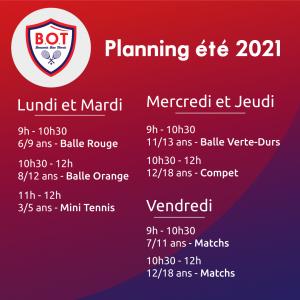 Planning été 2021 au BOT